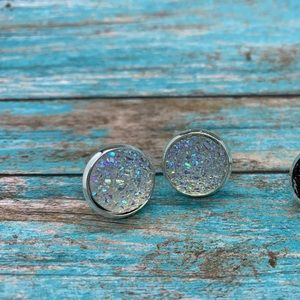 12mm white sparkly studs silver stainless
